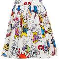 Pleated Printed Cotton-poplin Mini Skirt - White - Dolce & Gabbana Skirts
