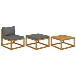vidaXL 3 Piece Garden Lounge Set with Cushions Solid Acacia Wood