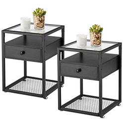 VECELO Modern Night Stands, End Side Table, Cabinet with Drawer and Rustic Shelf Decoration in Living Room,Bedroom,Lounge,Set of 2, Nightstand with Glass Surface, Black