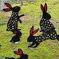 SOULSIS Acrylic Bunny Garden Stakes- Garden Decor for Outside Silhouette Stake Garden Art, Set of 6, Decorative Garden Stakes Yard Decorations Outdoors, Gifts for Animal Lovers