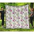 Scottish Thistle 1th Pattern Quilt - Flower Quilt - Scotland Quilt Super King Size - Quilt Patterns All-Season Quilts Comforters with Cotton - King Queen Twin Size Beach Trips, Gifts Quilt