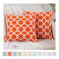 KAYCEE ROSE Geometric Embroidery Throw Pillow Covers, Pack of 2 Comfy Cotton Woven Cushion Covers for Couch Sofa Living Room, Solid Decorative Square Throw Pillow Covers 18x18 inches, Orange