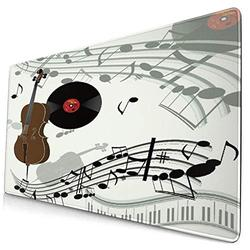 CANCAKA Large Gaming Mouse Pad,Cello Violinpiano Gramophone Vinyl Record Old,Non-Slip Rubber Mouse Pads Mousepad for Gaming Computer Office Desk,75×40×0.3cm