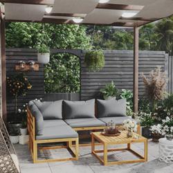 vidaXL 5 Piece Garden Lounge Set with Cushion Solid Acacia Wood