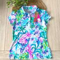 Lilly Pulitzer Tops | Lily Pulitzer Frida Polo Mermaid In The Shade Xs | Color: Purple/White | Size: Xs