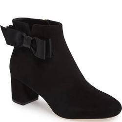 Kate Spade Shoes | Kate Spade Black Bow Block Heel Suede Bootie | Color: Black/Gold | Size: 10