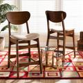 Baxton Studio Katya Mid-Century Modern Sand Fabric Upholstered and Walnut Brown Finished Wood 2-Piece Counter Stool Set - Wholesale Interiors RH378P-Sand/Walnut Bent Seat-PC-2PK