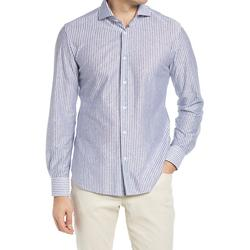 Stripe Linen & Cotton Dress Shirt - Blue - Corneliani Shirts