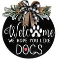 LASADC Welcome Sign Front Door Decor,Welcome Sign Wooden Hanging Sign For Front Porch Spring Wreath ,Wood Sign Wooden Hanging Welcome Sign,Round Wood Front Door Sign,For Restaurant , Home, Outdoor