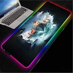 Mouse Pads Nautical Battleship Hd Office Computer Desk Mat Black Lock Edge RGB with LED USB Mouse Pad (Size_1)600X300X4Mm