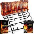 BBQ Rib Rack for Gas Smoker or Charcoal Grill with Non Stick BBQ Grill Mat - Pack