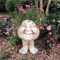 SHILONG Funny Muggly Face Statue Planter Pot - Antique Garden Statue Planter Pot Premium Resin Planter Statue for Garden Ornaments Patio Lawn Garden Yard Decor (B)
