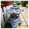 Uziqueif Asian Decoration Japanese Style Lantern Outdoor Pagoda Garden Statues and Sculptures, Sacred Solar Waterproof Garden Sculpture, Antique Figurine for Patio Lawn,Garden Miniature