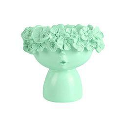 Face Vase, Face Pot, Beautiful Head Planter, Unique Planters, Pretty Face Planters Pots, Head Vase, White Planter Pot, Flower Pot, Lady Gifts, Head Pot, Face Pots for Plants (Green, S)