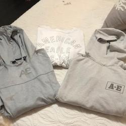 American Eagle Outfitters Shirts | American Eagle Set: 2 Hoodies And 1 Ls T-Sz M | Color: Gray/White | Size: M