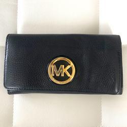 Michael Kors Bags   Michael Kors Black Leather Wallet   Color: Black/Gold   Size: Os