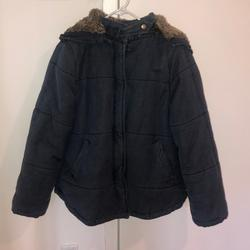 Free People Jackets & Coats   Free People Denim Quilted Coat   Color: Brown/Red   Size: Xs
