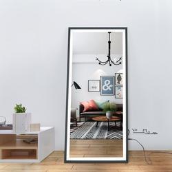 Orren Ellis LED Full Length Mirror Wall Mounted Lighted Floor Mirror Dressing Mirror Make Up Mirror Bathroom/Bedroom/Living Room/Dining Room/Entry Dimmer Touch Sw