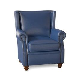 Omnia Leather Dixon Club Chair Leather/Genuine Leather in Blue, Size 43.0 H x 37.0 W x 41.0 D in | Wayfair Dixon Chair-11005-Euro Iceberg-Cherry