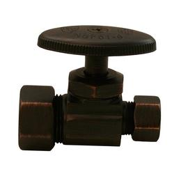 """JonesStephens Old World Bronze Multi-Turn Compression Straight Stop 5/8"""" Comp. X 3/8"""" Comp. in Brown, Size 2.95 H x 2.17 W x 1.2 D in 
