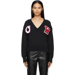 Logo Patch V-neck Sweater - Black - Off-White c/o Virgil Abloh Knitwear