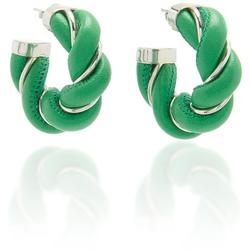 Twisted Leather And Metal Hoop Earrings - Green - Bottega Veneta Earrings