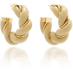 Twisted Leather Hoop Earrings - White - Bottega Veneta Earrings