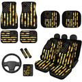 ZERODATE Yellow Sunflowers American Flag Bucket Seat Cover Floor Mat Pads Front & Rear Set,Leopard Print Car Sunshade Shield with Armrest Covers,Steering Wheel Cover,Shoulder Seatbelt Pads 14 in 1