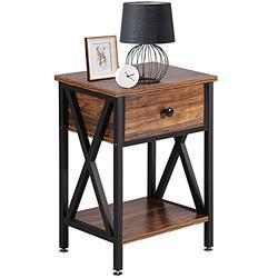 VECELO Modern Night Stand Drawer Versatile Nightstands Lamp Side/End Storage Shelf Table for Living Room Bedroom, Brown