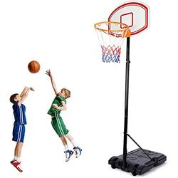amzdeal Portable Basketball Hoop & Goal, Basketball System Height Adjustable for Kids Youth, Basketball Equipment W/Basketball Backboard, Wheels, Basketball Net, Suitable for Indoor Outdoor Use