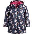 Pink Platinum Baby Girls' Rain Jacket - Waterproof Windbreaker Raincoat (Toddler/Girl), Size 4T, Navy Unicorn