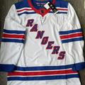 Adidas Shirts | New York Rangers Adidas White Authentic Jersey Nhl | Color: Blue/White | Size: 46