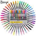 Bianyo 48 pcs Gel Stylo Set Recharges Métallique Pastel Neon Glitter Croquis Dessin Couleur Stylo
