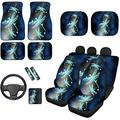 XYZCANDO Soft Bucket Seat Cover Floor Mat Pads Front & Rear Set,Blue Dragonfly Pattern Car Sunshade Shield with Armrest Cover,Steering Wheel Cover,Shoulder Seatbelt Pad,Compatible for Vehicles 14 in 1