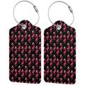 Red Flamingo Christmas Luggage Tags, Business Card Holder, Suitcase Labels, Travel Accessories