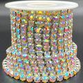 Towenm 1 Roll 5 Yards Large Crystal Rhinestones Close Chain, 5mm Rhinestone Chain, SS24, Sew on Crystal Rhinstone Chain Trim, Crystal Claw Cup Chain Roll (Silver Base + Crystal AB, SS24 / 5.0mm)