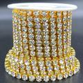 Towenm 1 Roll 5 Yards Large Crystal Rhinestones Close Chain, 5mm Rhinestone Chain, SS24, Sew on Crystal Rhinstone Chain Trim, Crystal Claw Cup Chain Roll (Gold Base + Crystal Clear, SS24 / 5.0mm)