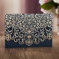 50 WISHMADE Navy Blue Laser Cut Gold Foil Wedding Invitations with Envelopes, Wedding Anniversary Holiday Birthday Quinceanera Elegant Personalized Blank Invites Cards