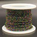 Towenm 1 Roll 10 Yards Rhinestone Chain, 2mm Crystal Rhinestones Close Chain Roll, Sew on Crystal Rhinstone Chain Trim, Crystal Claw Cup Chain (Rainbow, SS6 / 2mm)