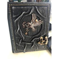 Eagle Ornamented Leather Notebook - Handmade Genuine Leather - Rustic Handmade Vintage Leather Bound Journals for Men and Women - Leather Book Diary Pocket Notebook,4.7x6 inch 240 pages (Black)