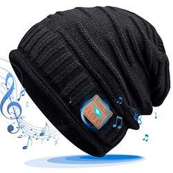 GREENEVER 2020 Gifts for Men & Women Bluetooth Beanie - Stocking Stuffers for Men & Women Knit Hat for Men Bluetooth Hat with Bluetooth 5.0 Music Beanie Friend Thanksgiving for Men Women Teens Black