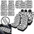 ZERODATE Funny Pandas Design Car Accessories for Summer Outdoor Cool,Personalized Seat Cover,Floor Mat,Sunshade Visor,Armrest Cover,Seatbelt Clip,Steering Wheel Cover Full Set of 13 Pack