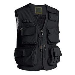 Fishing Vest for Men with Pockets Athletic Vest Black Vest Casual Work Vest Travel Vest for Men Multi-Pockets Summer Outdoor Vest