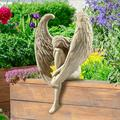 HYKT Resin Angel Statues, The Anguished Angel Long-Winged Sitting Statue, Angel Sitting Statue, The Anguished Angel Statue, Crying Angel Sculpture (1 pcs)