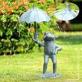 AllIwant Frog with Umbrella Garden Spitter Sculpture Statue,Frog Figurine Garden Decoration Landscape,Creative Resin Frog Umbrella Spitter Statue Garden Craft,Outdoor Yard Home Garden Patio Decor