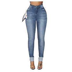 Skinny jeans for women stretchy,Fashion Women High Waist Denim Pants With Silk Scarf Pocket Jeans Pencil Trouser,Stretchy Plain Denim Skinny Fit High Waist Button Jeans Jeggings Leggings