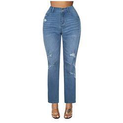 Jeans for women stretch bootcut,Plus Size Women Button Pocket High Waist Denim Pants Hole Casual Jeans Trousers,Women's Slim Fit Skinny Denim Ripped Jeans Stretchy Boyfriend Jeans