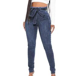 Jeans for women high waist,Women's Jeans Bow Tie High Waist Slim Fit Lace-up Pants,Elastic Waist Jeans Relaxed Skinny Autumn Loose Denim Trousers