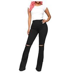 Mom jeans ripped,Women's High Waist Slim Hole Burr Denim Micro Trumpet Pants,Jeans for Women Elastic Waist Jeans Straight Leg Denim Plus Size Jeans