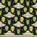 East Urban Home fab_51837_Ambesonne Alien Fabric By The Yard, Sketch Style Portraits Dotted Background Space Crafts Transportation in White | Wayfair